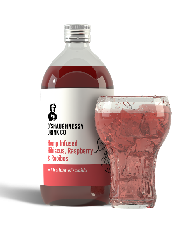 Hibiscus, Raspberry, Rooibos and Vanilla. Infused with soluble Full Spectrum CBD extract DRINK