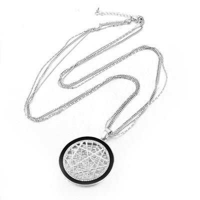 Multi Chain Round Crystal Necklace, necklace muslim dress - OVEILA