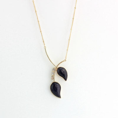 Black Natural Stone Necklace,  muslim dress - OVEILA