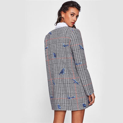Embroidered Check Coat, coats muslim dress - OVEILA