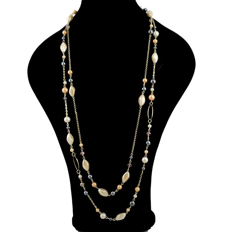 Multi Chain Beaded Necklace, necklace muslim dress - OVEILA