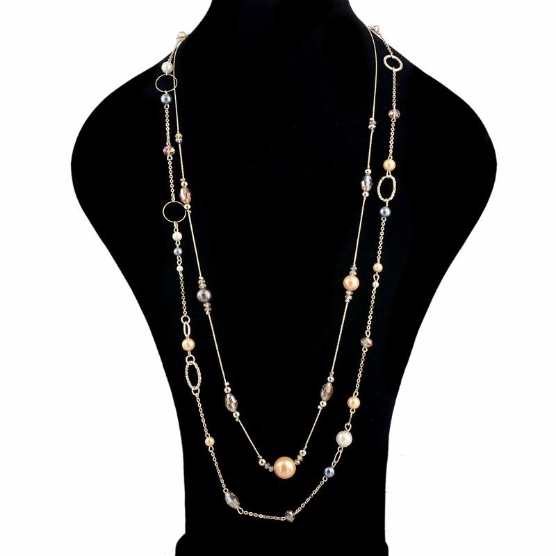 Layered Long Bead Necklace, necklace muslim dress - OVEILA