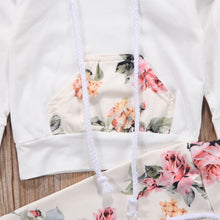 3 Piece Infant Toddler Baby Girl Floral Print Hoodie Set - Classy Stores Online