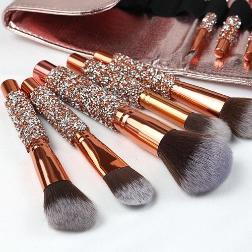 10 Piece Sparkling Makeup Brush Set With Bag - Classy Stores Online