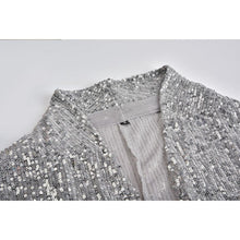 Women's Long Sleeve Silver Sequin Party Blazer Jacket