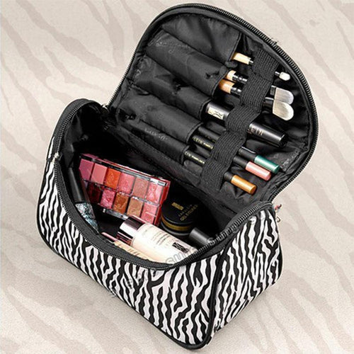 Women Leopard Print Cosmetic Makeup Bag Travel Organizer Toiletry Case