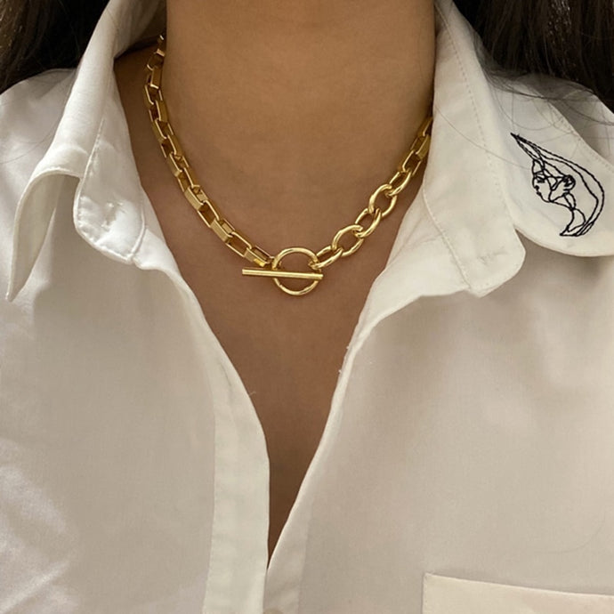 Popular Chunky Box Chain Toggle Clasp Gold Necklace