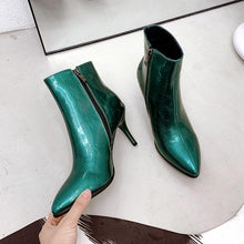 Women's Metallic Pointed Toe High Heel Stiletto Ankle Boots - Classy Stores Online