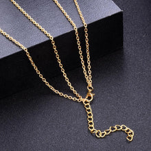 Women's Moon And Stars Gold Coin Double Pendant Necklace