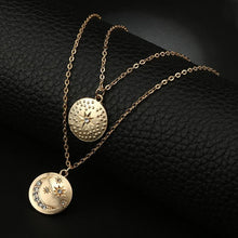 Women's Moon And Stars Gold Coin Double Pendant Necklace - Classy Stores Online