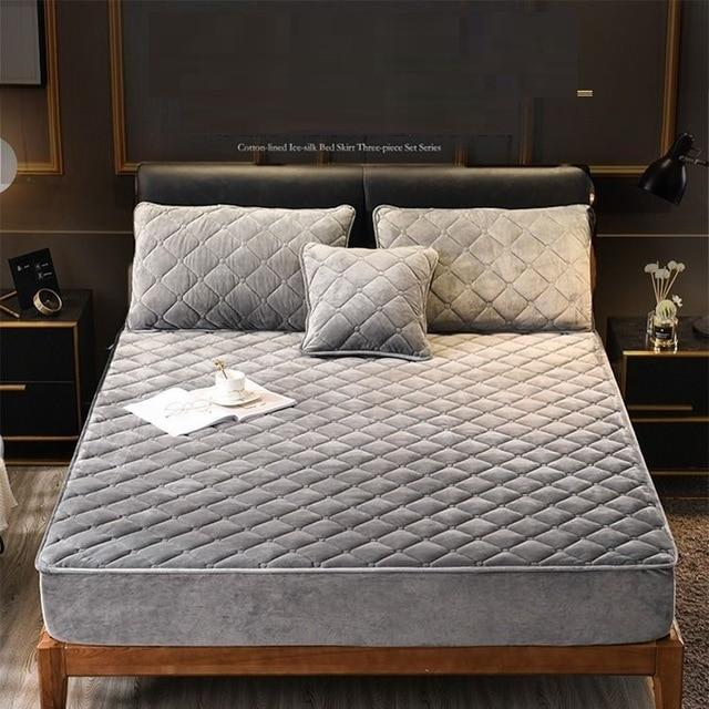 Plush Velvety Fitted Quilted Mattress Cover