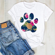 Women's Puppy Dog Paw Print Graphic Tee Shirt - Classy Stores Online