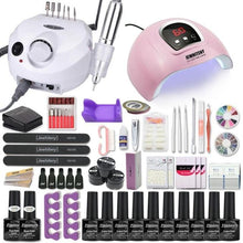 Acrylic Nail Kit 10 Gel Polish Nail Drill Drying Lamp Art Tool
