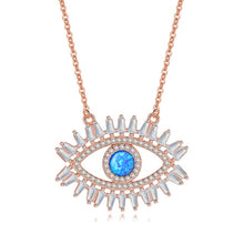 Popular Sterling Silver CZ Crystal Turkish Eye Necklace