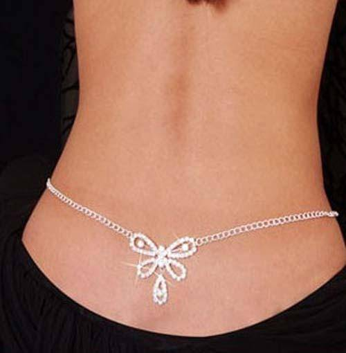 Ladies Trendy Glittery Silver Rhinestone Crystal Body Belly Chain