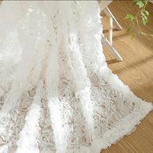 3D Romantic Rose Pastoral White Lace Voile Window Curtain Panel