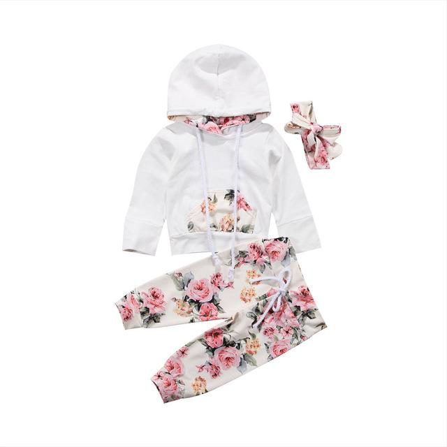 3 Piece Infant Toddler Baby Girl Floral Print Hoodie Set