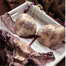 Ladies Romantic French European Lace Push Up Lingerie Set