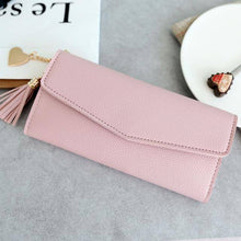 Women's Long High Quality PU Leather Phone Holder Wallet Clutch Purse With Tassel