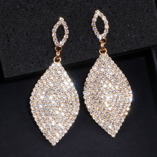 Ladies Large Classic Tear Drop Rhinestone Crystal Earrings