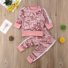 Toddler Girls Soft Velour Velvet Pullover Sweatshirt Jogging Suit