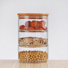 3-layer Stacking Glass Jar Container Set With Bamboo or Glass Lid - Classy Stores Online
