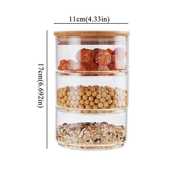 3-layer Stacking Glass Jar Container Set With Bamboo or Glass Lid