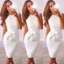 Women's Sleeveless White Lace Knee Length Sheath Dress With Stand Up Collar And Tie Belt