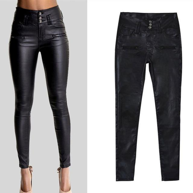 Women's High Waist Skinny Stretch Soft Faux Leather Pants - Classy Stores Online
