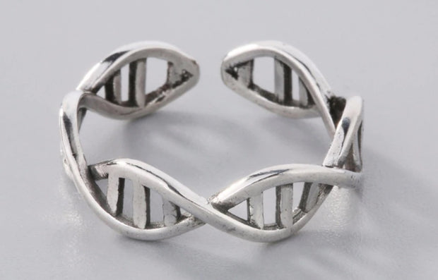 925 Sterling Silver DNA Double Helix Ring