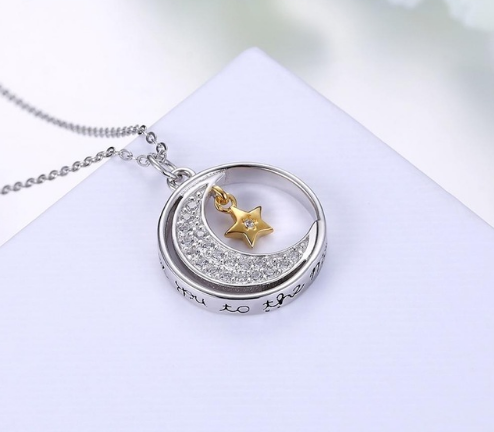 I Love You to the Moon and Back Ring Necklace