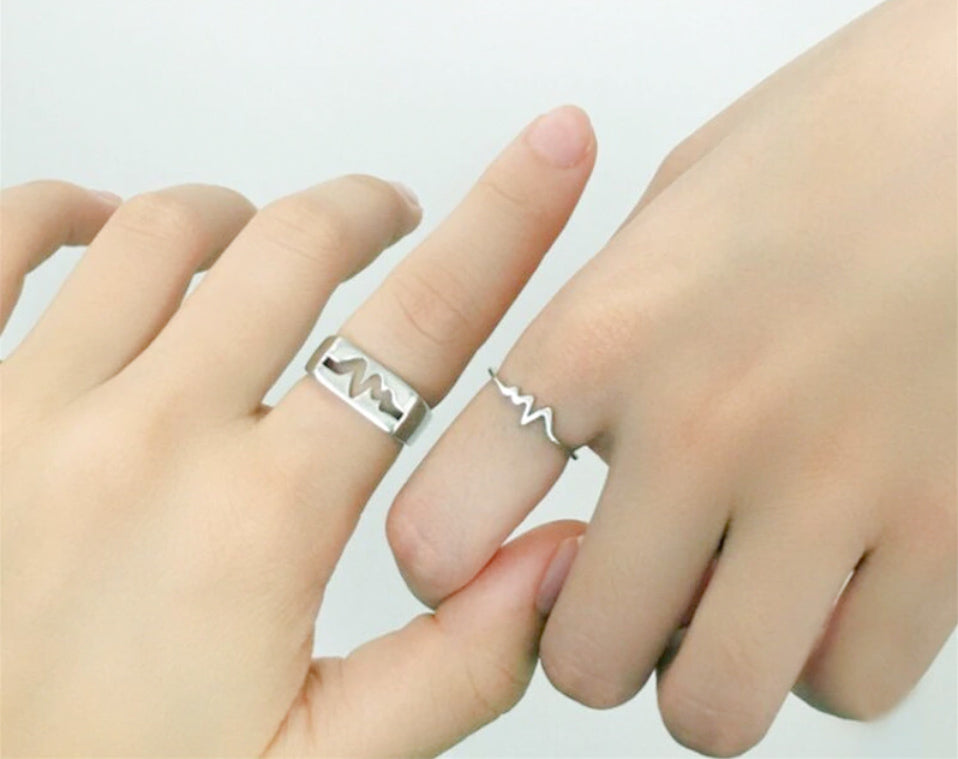 My Heart Beats For You Ring Set (925 Sterling Silver)