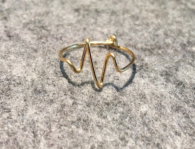 Real Gold Heart Beat Ring