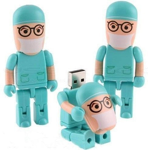 Surgeon with Pink Scrubs USB Flash Drive