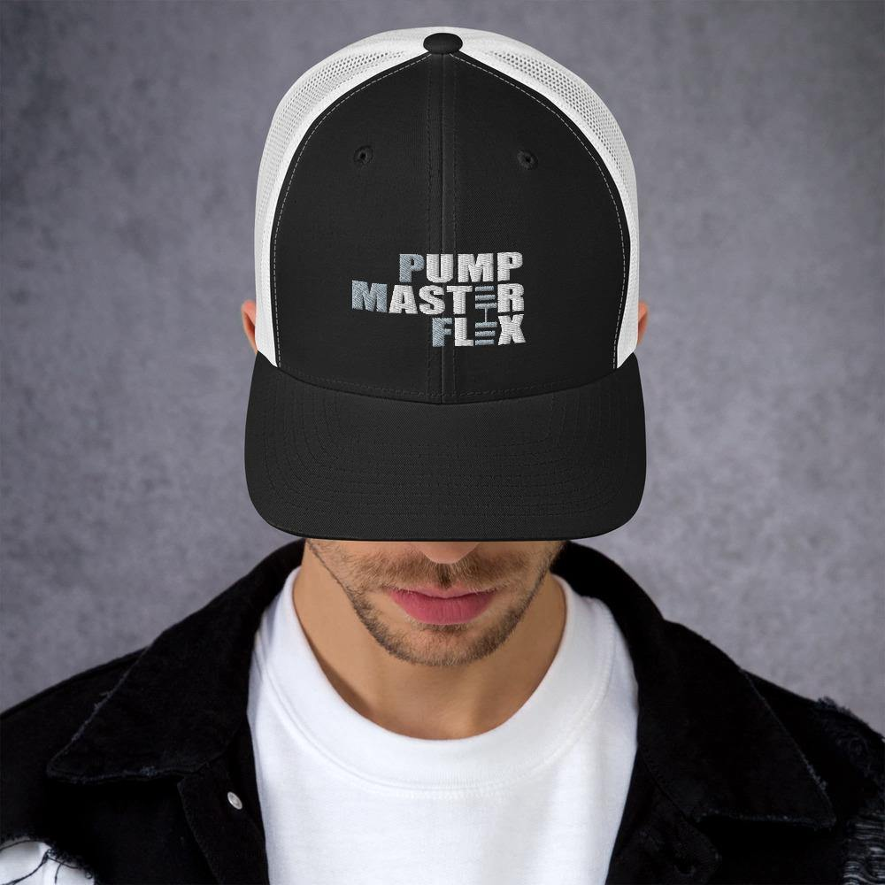 Bargo Trucker Hat, Pump Master Flex, Fitness Gear, Dumbbells, Weights, Gym Gear, Gym Apparel, Mens Fitness, Mesh, Black and white,