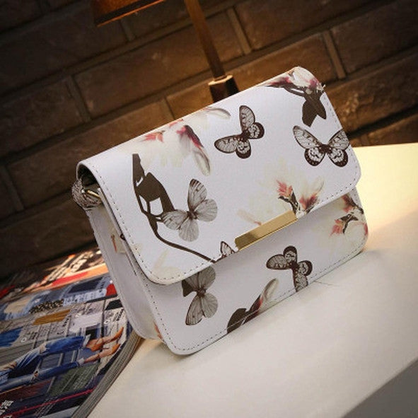 Faux Leather Butterfly Messenger Bag