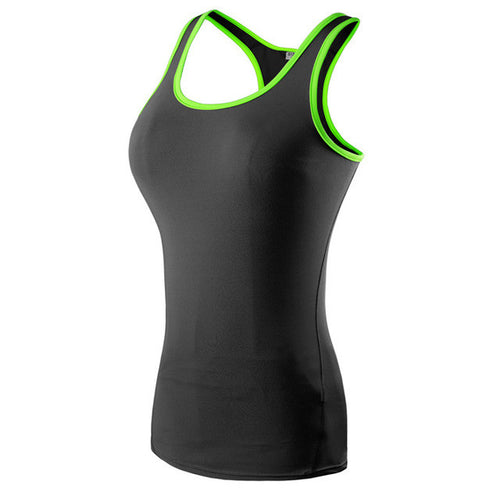 Black with Green Piping Free Flow Yoga Tank Top