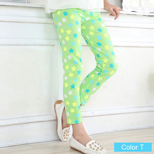 Lime Stars Girls Leggings