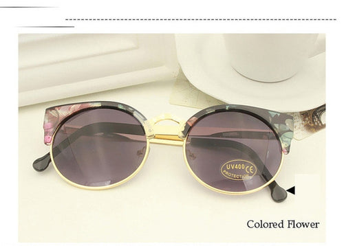 Colored Flower Vintage Cat Eye Sunnies