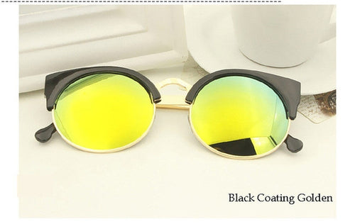 Black Coating Golden Vintage Cat Eye Sunnies