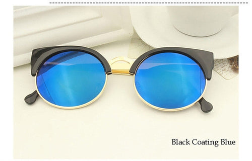 Black Coating Blue Vintage Cat Eye Sunnies