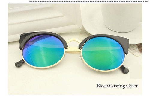 Black Coating Green Vintage Cat Eye Sunnies