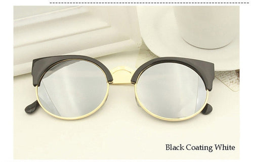 Black Coating White Vintage Cat Eye Sunnies