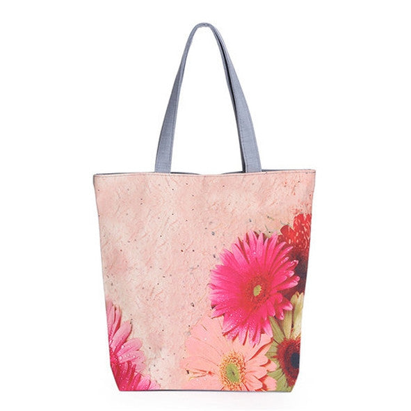 Pink Floral Printed Canvas Fashion Tote Bag