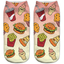 Burgers n Fries Low Cut 3D Printed Ankle Socks