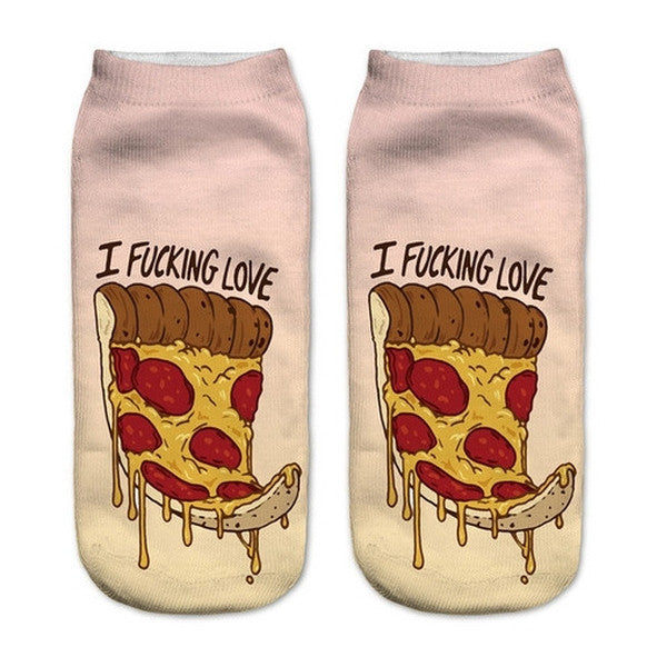 Pizzzzza Low Cut 3D Printed Ankle Socks