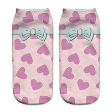 Hearts n Bows Low Cut 3D Printed Ankle Socks