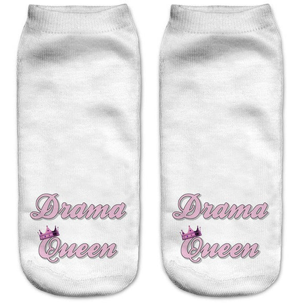 Drama Queen Low Cut 3D Printed Ankle Socks