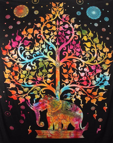 Rainbow Tree Elephant Mandala Tapestry