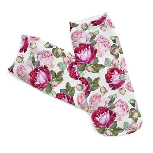 Floral Low Cut 3D Printed Ankle Socks
